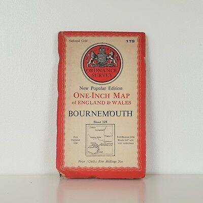 1951 Old Vintage National Grid Ordnance Survey Oneinch Cloth Map 179 Bournemouth