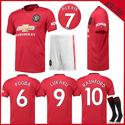 New Season 2020 Football Jersey Strip Red Home Kit Kids/Adult Sport Outfit+Socks