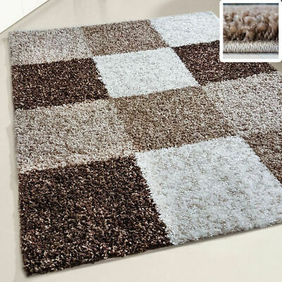 Small X Large Size Thick Soft Shaggy Non Shed Rug Modern Carpet Brown Beige New