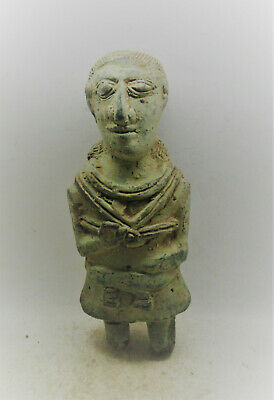 Scarce Ancient Near Eastern Bronze Worshipper Statue Bearded Male