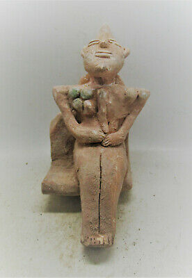 Very Rare Ancient Ubaidian Terracotta Seated Lizardman Statuette Ur