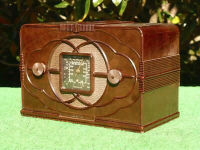 STUNNING 1930's Vintage Art Deco ASTOR MICKEY MOUSE Brown Bakelite Valve Radio
