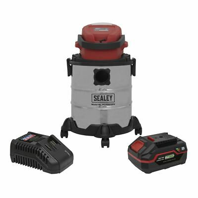 Sealey Cordless Vacuum Cleaner 20ltr Wet & Dry 20V with 4Ah Battery & Charger