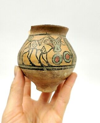 Superb Indus Valley Ca.2200 Bc Terracotta Cup Depicting Ibex R217