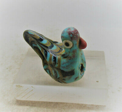 Scarce Circa 500Bce Ancient Phoenician Mosaic Glass Bird Bead
