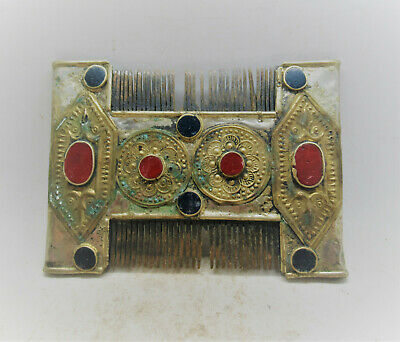 Ancient Byzantine Silver And Gold Gilded Crusaders Comb With Stone Inserts