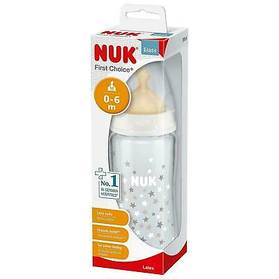 NUK First Choice Glass Baby Bottle Anti Colic Latex Teat Zero To 6 Months 240 ml