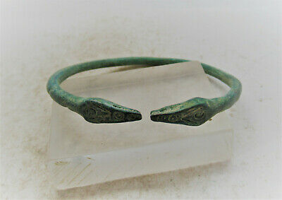 Scarce Circa 900-1100Ad Viking Era Norse Bronze Bracelet Serpent Head Terminals