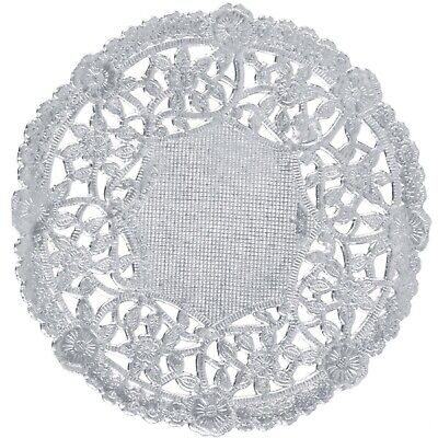 "50 Metallic Silver Foil 4"" Paper Lace Doilies Floral Embossing - Made in Canada"