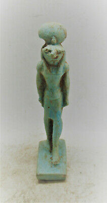 Scarce Circa 800-500Bce Ancient Egyptian Glazed Faience Sehkmet Statuette