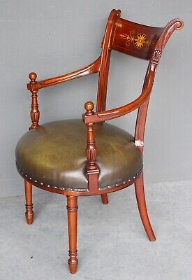 Superb French Empire antique armchair neo-classic marquetry inlaid good leather