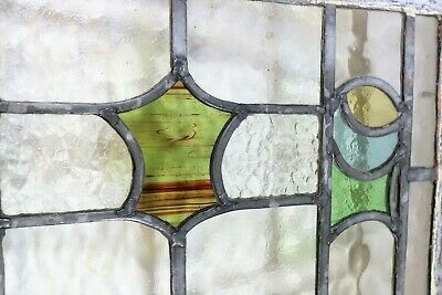 A Lot of 7 British Art Deco 1920s Leaded Stained Glass Panels with Cloud Glass