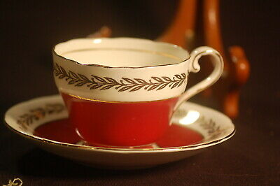 Aynlsey Red with Gold Cup and Saucer