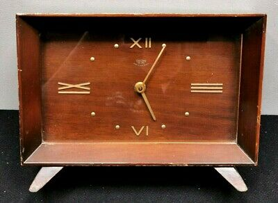 SMITHS LYNSIDE Sectric CLOCK Mantel Carriage WOODEN Electric 1955 WORKING