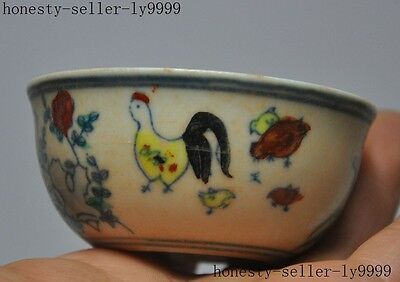 marked old chinese Exquisite wucai Porcelain Chicken Fowl flower lucky cup Bowl