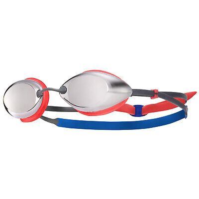 a48a1eda685 Tyr Tracer Fina Approved Mirrored Junior Racing Swimming Goggles Silver Red  Blue