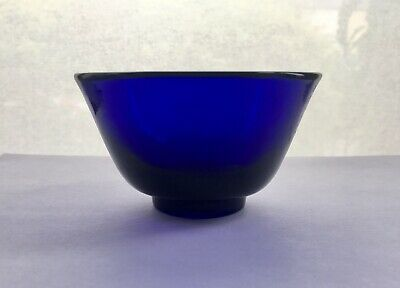 Chinese Peking Glass Blue Bowl, 4 Character Mark on Base