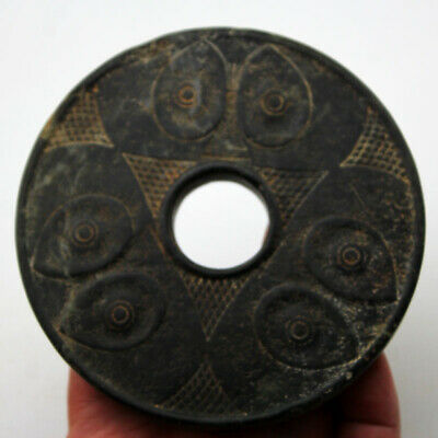 """Ancient China Han Dynasty Meteorit Jade Two Side Relief God's Eye Disk YuBi 4.7"""""""