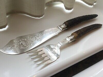 Beautiful Antique Silver Plated Antler Horn Chased Fish Servers