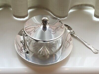 Superb Antique Hukin And Heath Silver Plated And Glass Preserve Dish