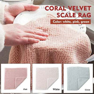 28DC 2pcs Wiping Cloth Kitchen Cleaning Cloth Coral Fleece Super Absorbent