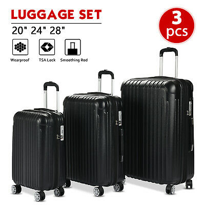 "3PCS Luggage Set Travel Bag ABS Spinner Suitcase w/ TSA Lock Black 20"" 24"" 28"""