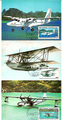 French Polynesia 3 Postcards of Planes with very nice Stamps.