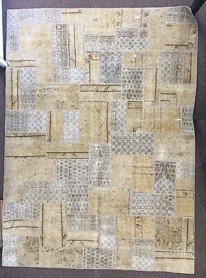 Antique Vintage Hand Knotted Persian Rug Patchwork Carpet Rare Hand Woven
