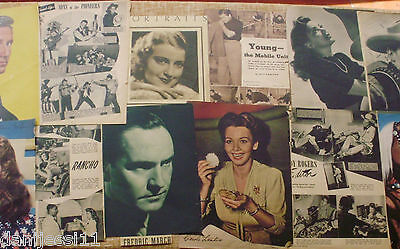 LOT OF 11 MOVIE-RELATED MAGAZINE PAGES '40s Casablanca,etc