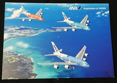 JAPAN Airbus A380 All Nippon Airways POSTCARD NH ANA JA381A airline issued