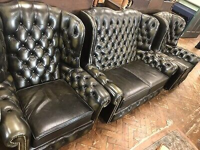 Button Back Green Leather Wing Back Chesterfield Suite 2 Seater And 2 Chairs