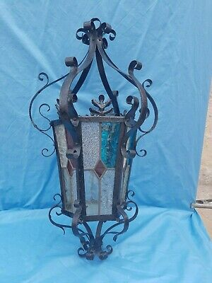 Antique French, old lantern, large chandelier, iron and stained glass,Neo Gothic