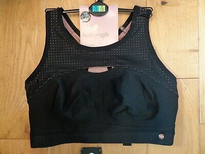Bnwt Ladies M&S Autograph Rosie Range Non Wired Black Sports Bra Size 34C R/P£25