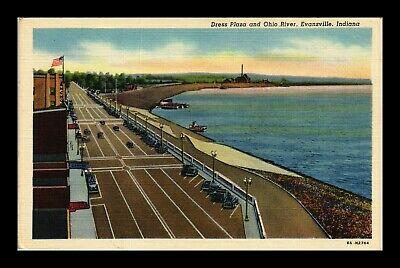 Us Postcard Dress Plaza And Ohio River Evansville Indiana Linen