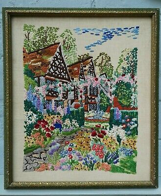 Vintage  Embroidered  Detailed English Country Cottage + Garden Picture Framed