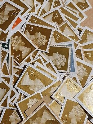 MIXED COLOURS 100 1st CLASS STAMPS UNFRANKED OFF PAPER - FV £70.00 ~ BARGAIN