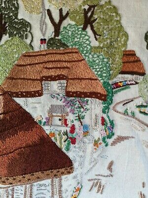 Large Detailed Vintage Embroidered English Country Cottages Village Scene