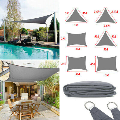 2M 3M 3.6M 4M 5M Sun Shade Sail Outdoor Garden Patio Awning Canopy Waterproof UK