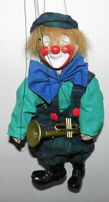 Alte Marionette Clown Theaterpuppe Puppe Trompeter Gips