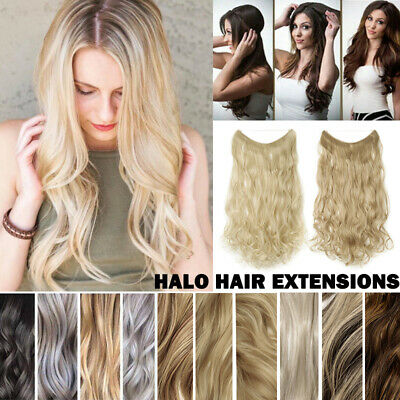 30+Available Colors Halos Invisible Hidden Hair Extensions Long Thick As Human