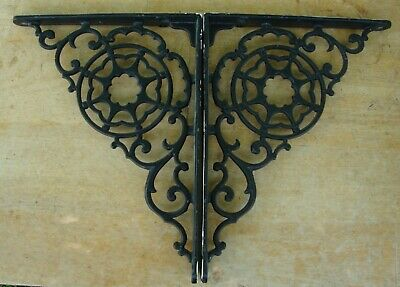 "Pair Cast Iron Shelf Brackets Star Center 8"" by 10 1/2"""