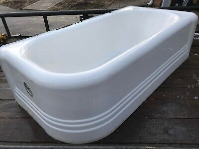 Vintage Cast Iron Porcelain Corner Bath Tub