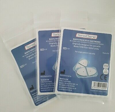 TensCare Boots Press Stud Electrodes 3 Packs of 4