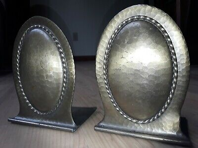 Pair of vintage Roycroft  hammered Arts & Crafts Mission antique Bookends
