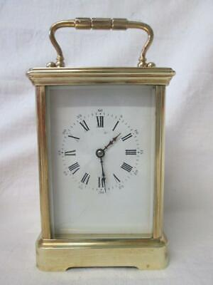 Large French/English Brass Cased Carriage Clock inc Key (Working Order)