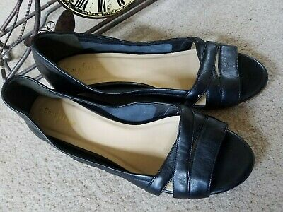 72782d131 Cole Haan Wedge Womens Size 8 B Black Soft Lamb Leather Ballerina Peep Toe  Shoe