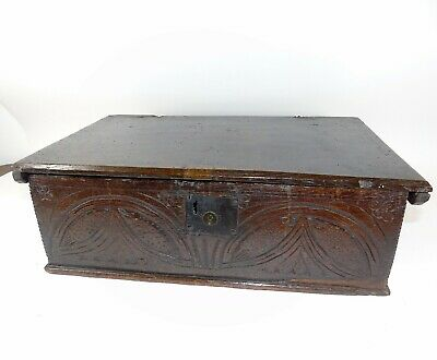 17th Century Carved Oak Bible Deed Box