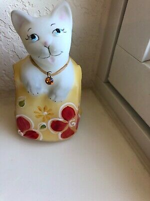 Fenton CAT--- Peaking Out Of Box Hand Painted--Signed
