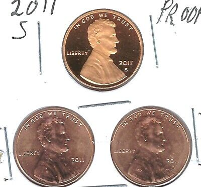 2019-S Shield Lincoln (Proof) With Mint Set BU P & D Three Cent Types!
