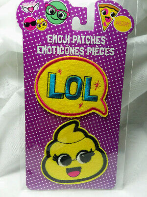 Emoji Patches LOL &  PooPoo Self-Adhesive or Sew On 2 Patches